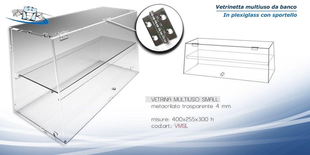 Circuito AUT AUT Vetrina da Banco in Plexiglass F.to L40 x P26 x H30 cm vetrina per Alimenti con sportello e Cerniere in Acciaio