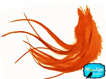 1 Dozen Short Orange Grizzly Rooster Hair Extension Feathers