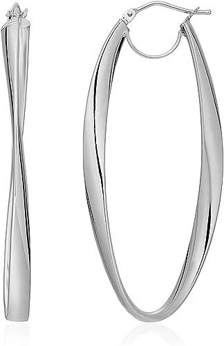 10K deux tons or 3X17X30MM d//c torsadé ovale Boucles d/'oreilles Créoles