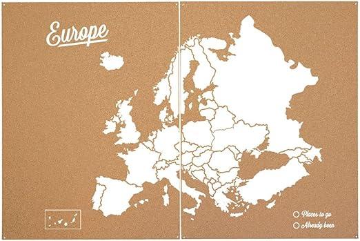 Miss Wood Mapa de Europa de Corcho, Pino, Blanco, XXL-90x120cm