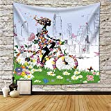 Floral Bicycle Girl In Spring Decor Tapestry Wall Hanging Bike Girl Printing Decor College Campus Dorm Home Living Room Or Guest Room Decoration HYC02-B-US 79' x 59' 200150 CM