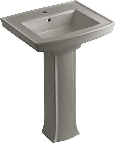 KOHLER K-2359-1-K4 Archer Pedestal Bathroom Sink with Single-Hole Faucet Drilling, Cashmere