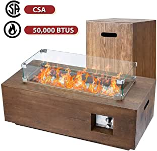ECOTOUGE 42in Outdoor Propane Fire Pit Gas Table 50,000 BTU Auto-Ignition Gas Firepit and Tank Holder w/Weather-Resistant Pit Cover, Glass Wind Guard, Glass Stone, CSA Certification, Brown
