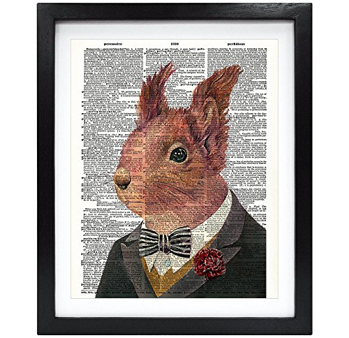 Susie Arts 8X10 Unframed Mr. Squirrel Upcycled Vintage Dictionary Art Print Book Art Print Home Decor Funny Wall Art V140
