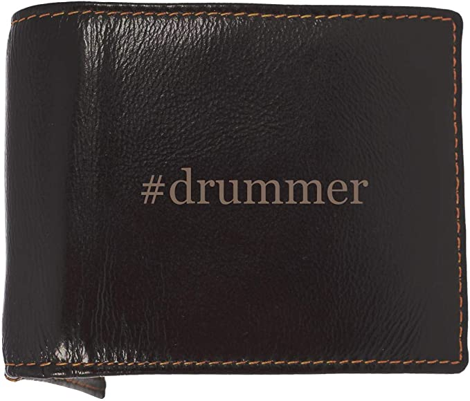 #drummer - Soft Hashtag Cowhide Genuine Engraved Bifold Leather Wallet
