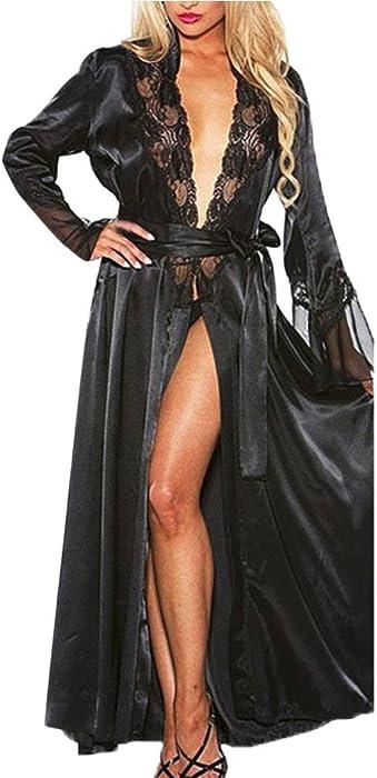 ed1fad83e17 Women Nightgown Long Silk Kimono Dressing Gown Babydoll Lace Lingerie Bath  Robe (Black
