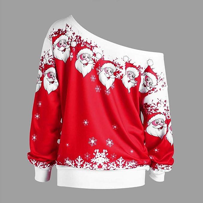 Amazon.com: iDWZA Womens Christmas Santa Claus Snowflake Print Skew Collar Sweatshirt Tops: Clothing