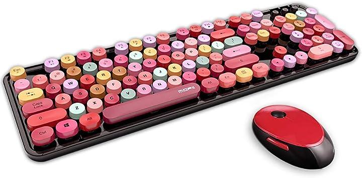 Teclado inalámbrico ratón Combo - Retro Ronda Nombres de Teclas ergonómico Color Mixto, Lindo Teclado de tamaño Completo con Teclado numérico y los ...