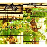 Paradigm Originals Feng Shui Wind Chime for Bedroom Brass Bell Wind Chimes for Home Positive Energy Balcony (Golden, Hut 8 Bell)