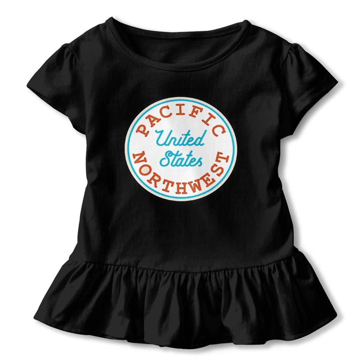 Pacific Northwest Shirt Design Kids Flounced T Shirts Basic Shirt for 2-6T Baby Girls