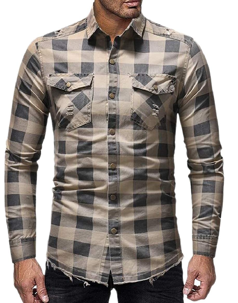 HTOOHTOOH Mens Western Plaid Checked Distressed Ripped Long Sleeves Denim Button Front Shirts