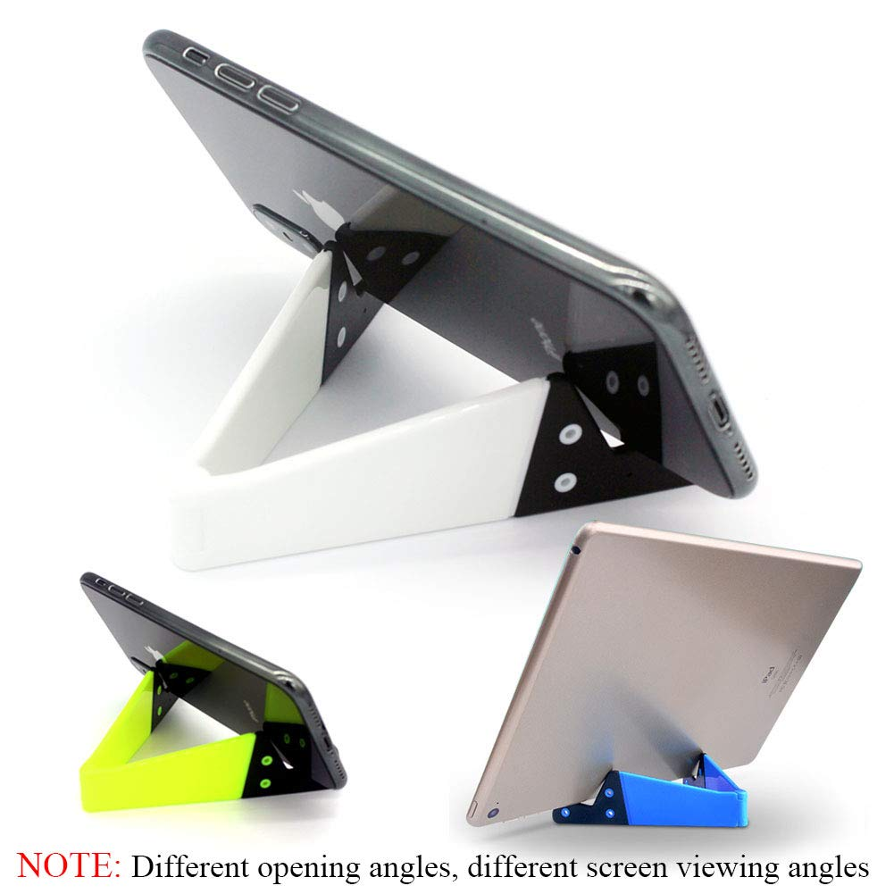 V Cell Phone and Tablet Stands, Smartphone Kickstand for Desk, Universal Foldable Upgrade Mobile Mount, Pocket-Sized, Waterproof, by Kemoxan (Pack of 3, Fluorescent Yellow, Blue, White) by Kemoxan (Image #4)