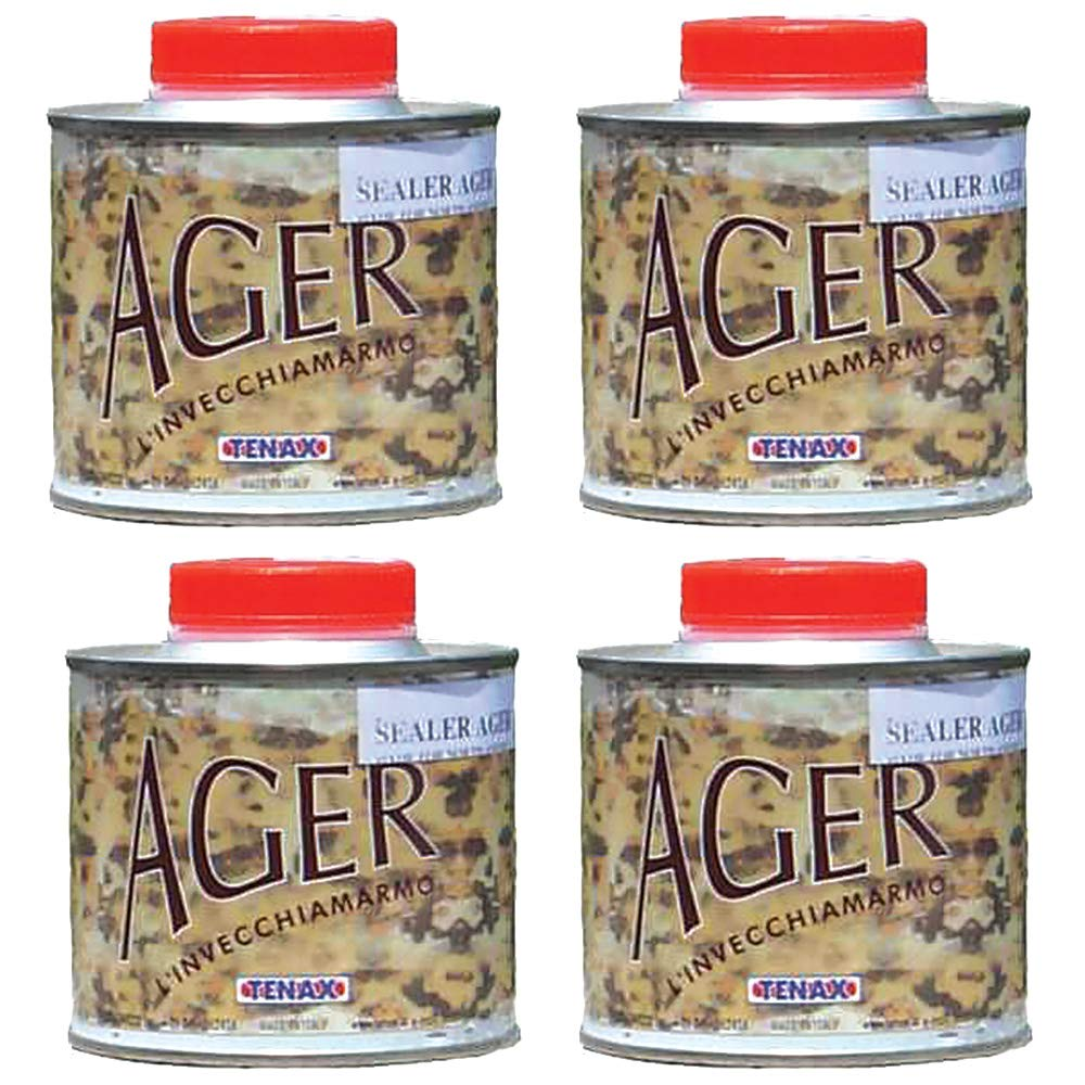 Tenax AGER Color Enhancing Granite Sealer, Marble Sealer, Stone Sealer - 1/4 Liter (Pack of 4)