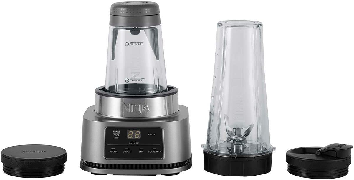 Smart Torque-Motor und Auto-iQ-Technologie und Sch/üssel 700 ml 400 ml silver CB100EU 1100 W Ninja Foodi 2-in-1 Power Nutri Mixer mit Becher