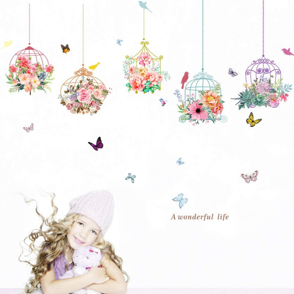 Birdcage Butterfly Flowers Removable Home Decor Wall Decals Wallpaper Background Wall For Nursery Kids Rooms Decorations Wall Stickers