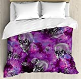 Skull Decor Duvet Cover Set by Ambesonne, Horror Movie Themed Flying Skull Heads Halloween in Outer Space Image, 3 Piece Bedding Set with Pillow Shams, King Size, Black and Purple