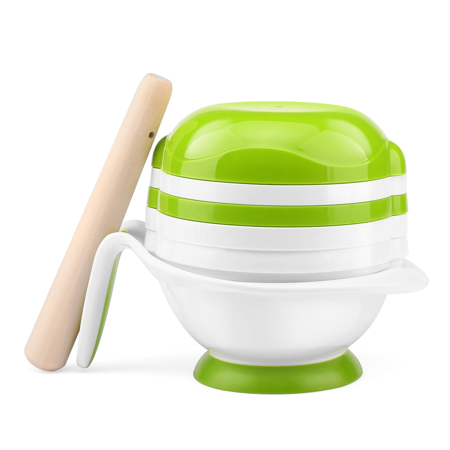 Zooawa Baby Food Masher, 8 in 1 Fresh Food & Fruit Masher Maker Feeder Serve Bowl for Homemade Baby Kids Food, White
