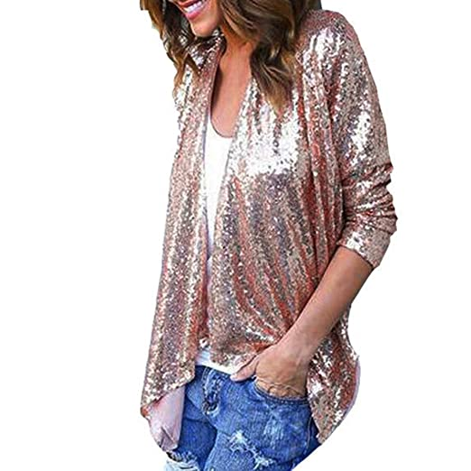 Jukila Women Cardigans Womens Casual Long Sleeve Solid Sequined Irregular Cover Up Coat Blouse Pink