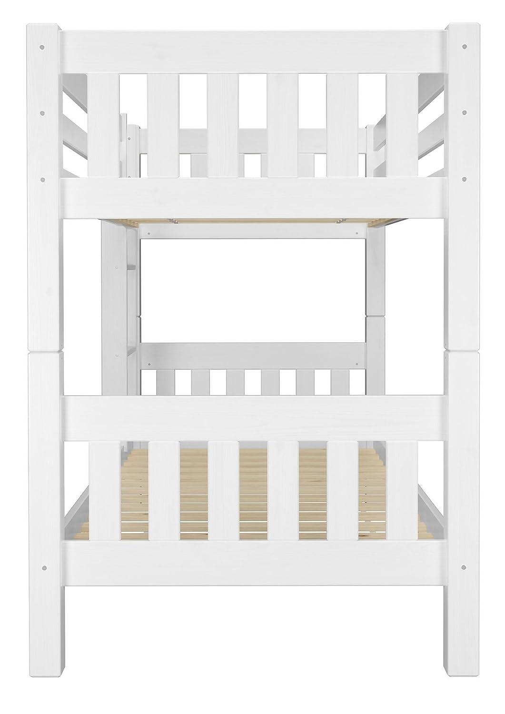 Erst-Holz Letto a Castello Bianco per Bambini per materassi 90x200 in Pino con doghe rigide 60.06-09W
