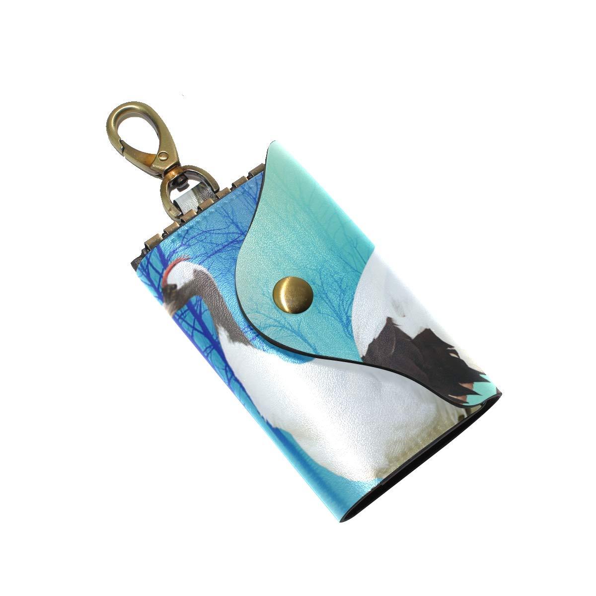 KEAKIA Art Ibises Bird Leather Key Case Wallets Tri-fold Key Holder Keychains with 6 Hooks 2 Slot Snap Closure for Men Women