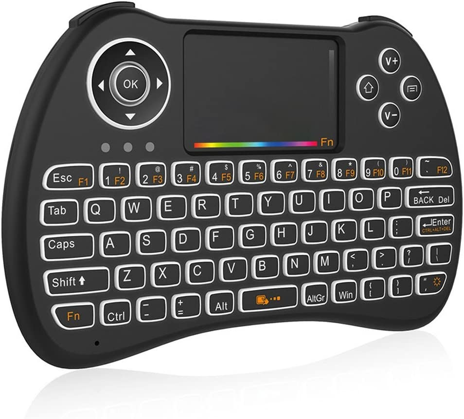 Color : Black TV Happyshopping Russian i8 air Mouse Wireless Keyboard with touchp H9 2.4GHz Mini Wireless Air Mouse QWERTY Keyboard with Colorful Backlight /& Touchpad for PC