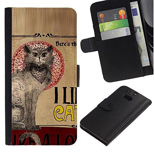 EuroCase - HTC One M8 - cats quote art oriental cat grey - Cuero PU Delgado caso cubierta Shell Armor Funda Case Cover