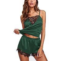 Mari Cias Womens Silky Lace Pajamas Sleepwear Lingerie Camisole Shorts Set