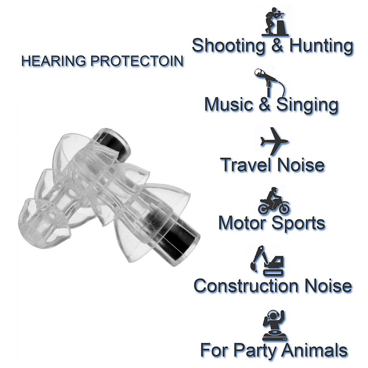 Noir TOOGOO 27Db Silicone Earbud Musicien Filtre Bouchons DOreilles R/éduction Du Bruit Annulation Protection De LOu?e Earbud R/éutilisable Sommeil Sommeil pour Dj