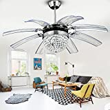 Tropicalfan Crystal Retractable Ceiling Fan With Remote Control LED Lights Home Decoration Dinner Room Bedroom Silent Modern Fans Chandelier 8 Acrylic Invisible Blades 42 Inch