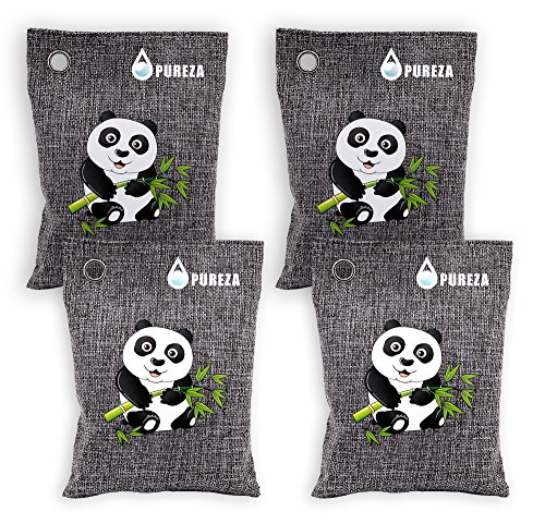 Nature Fresh Air Purifying Bag. Odor Eliminator for Cars, Closets, Bathrooms and Pet Areas.Bamboo Charcoal Bags, Captures and Eliminates Odors By Pureza, 4 Pack