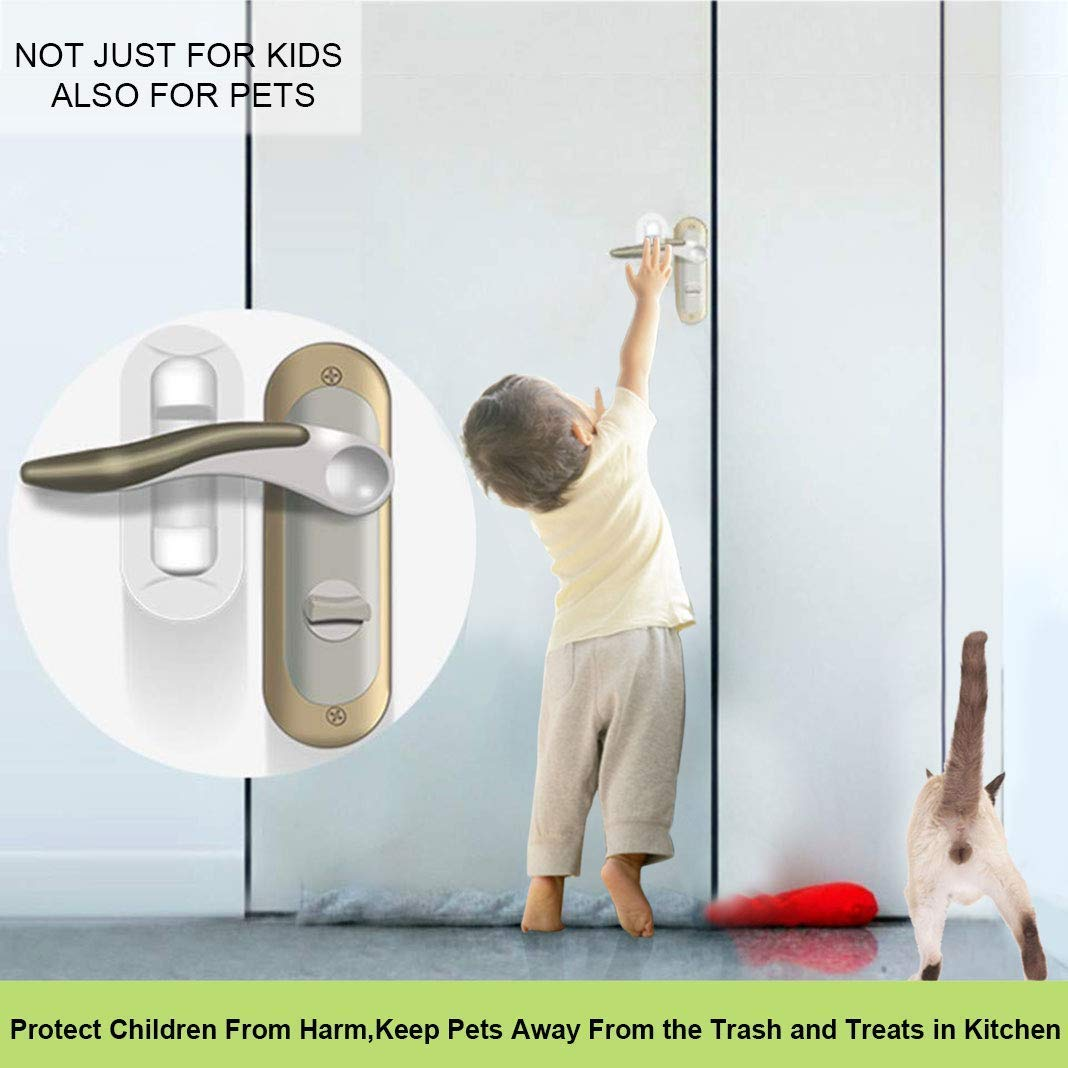 Door Lever Lock,2 Pack Child Proof Doors Handles by Mopoin,Child Safety Door Locks 3M Adhesive (White) by Mopoin (Image #6)