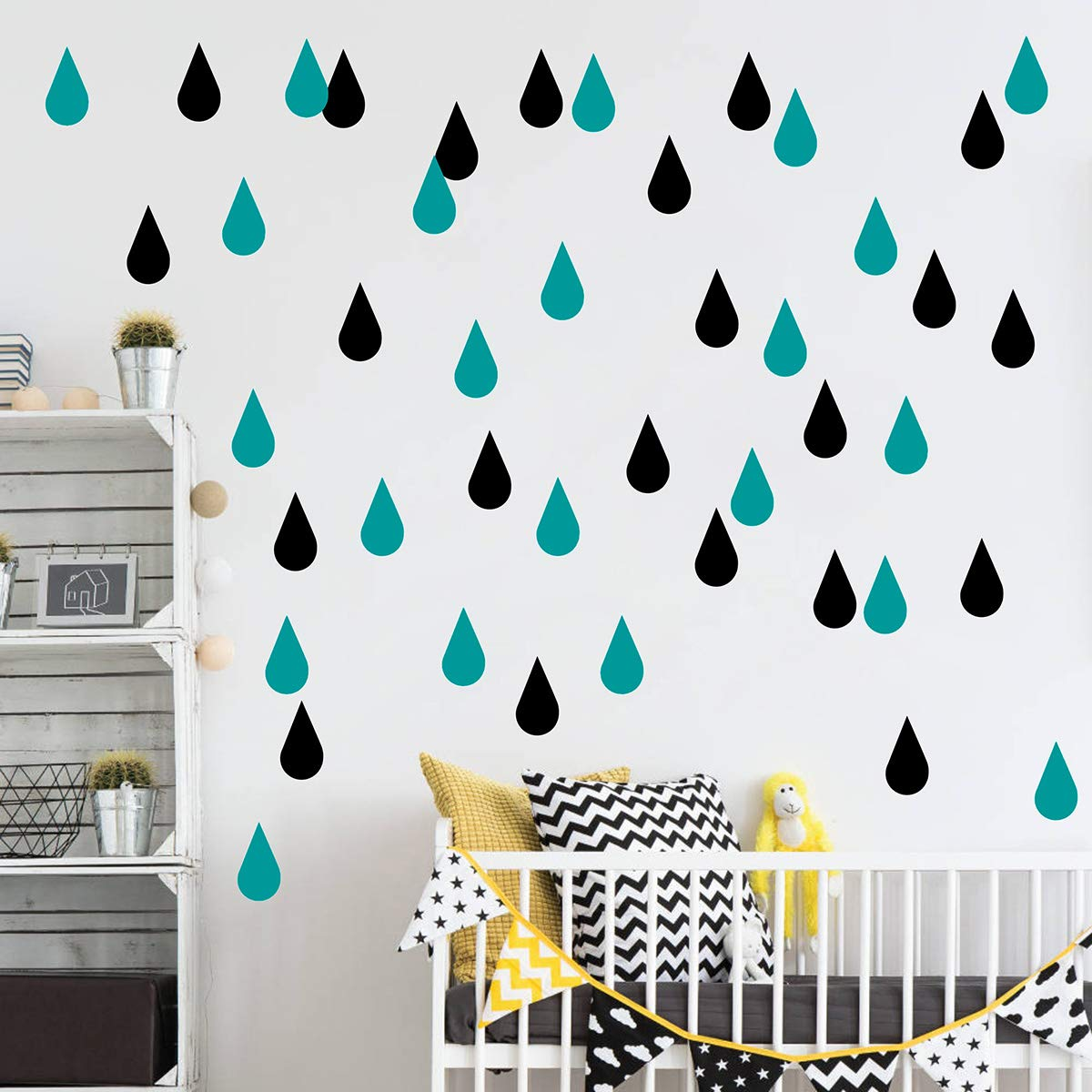 JUEKUI Water Droplets Wall Decals Raindrop Wall Sticker Removable Wall Decor Easy Peel Stick Girls Bedroom Nursery Bedroom Home Decor WS43 (Black + Teal)