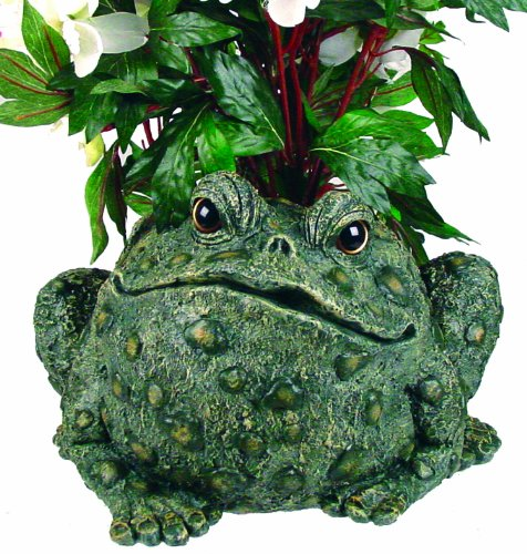 """Toad Hollow HomeStyles Extra Large Toad Planter 10.5"""" H Holds 6"""" W Pot, Natural Green from Toad Hollow"""