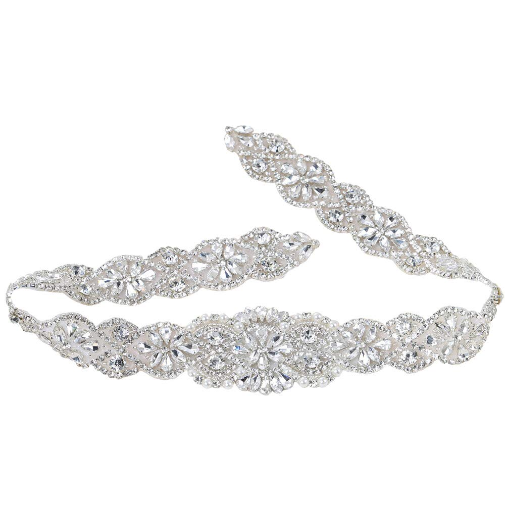 Crystal Rhinestone Appliques with Stain Ribbons Sewn on or Hot Fix for DIY Dress Belts, Headbands, Headpieces, Neckline, Garters, Shoes, Bags - Silver