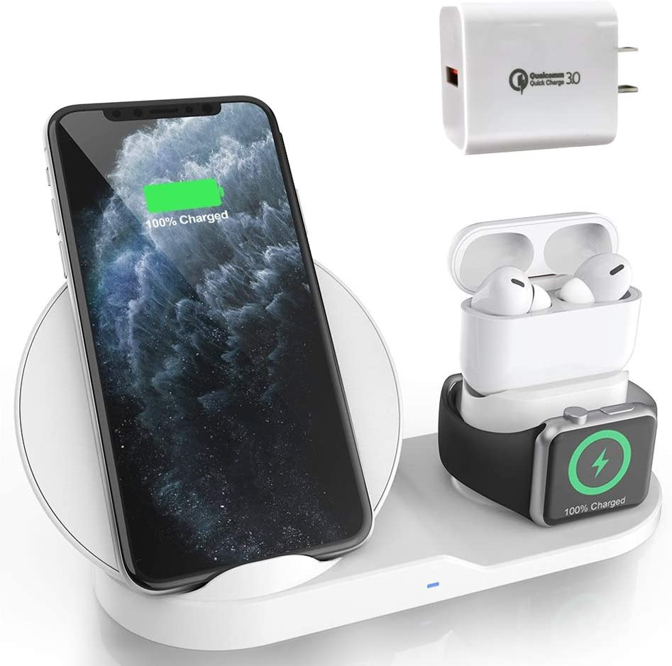 Wireless Charger for AirPods Pro, Coobetter 3 in 1 Wireless Charging Station,Wireless Charging Stand Watch Charger Compatible with iPhone 11/11 pro /11 Pro Max/Xs/XS Max/XR/X / 8 /8P (White)