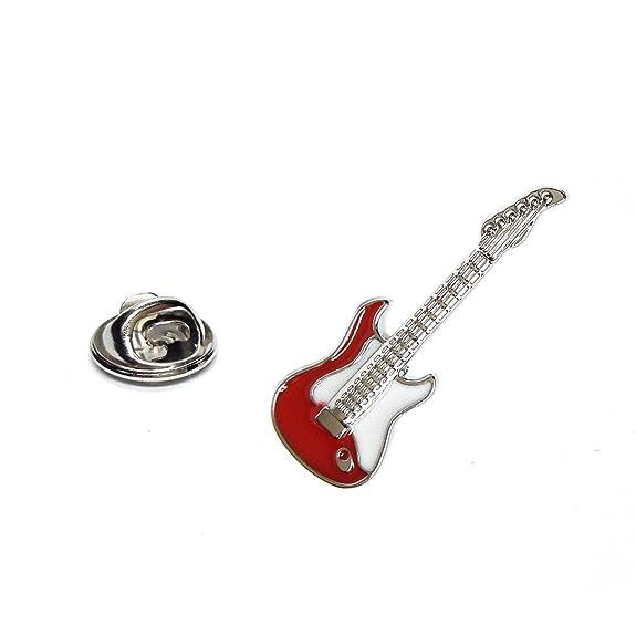 Gemelolandia Pin de Solapa Guitarra Eléctrica Blanca y Roja: Amazon.es: Joyería