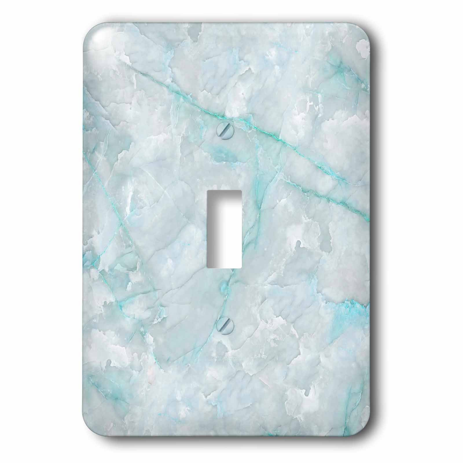 3dRose LSP_275124_1 Image of Trendy Luxury Aqua Teal Quartz and Gray Gemstone Agate Geode Toggle Switch, Multicolor