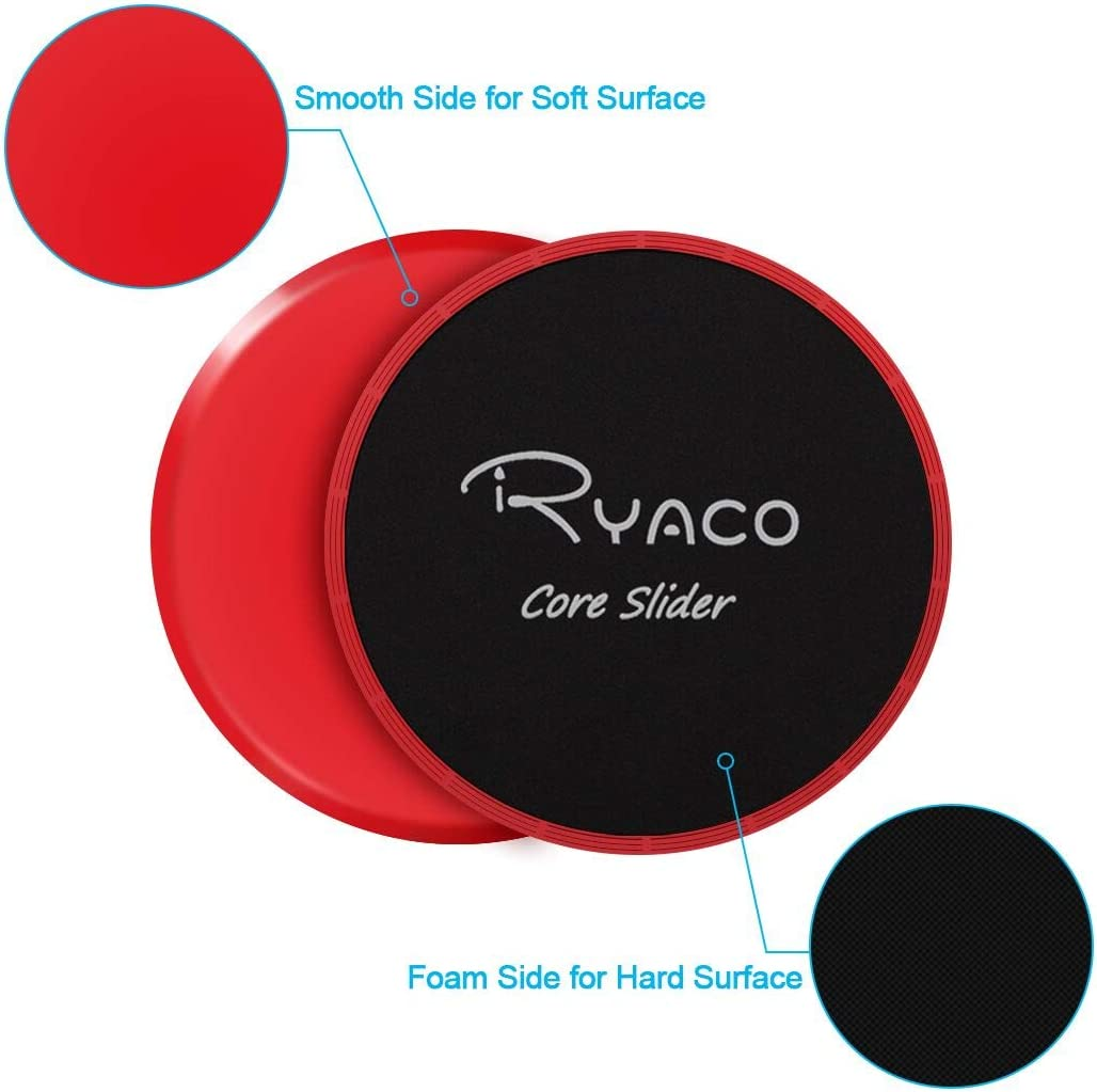 Ryaco 2X Discos Deslizantes para Fitness Abdominales con Bolsa de Transporte –Discos Doble Cara Deslizantes para Hogar, Yoga, Fitness, Pilates, ...
