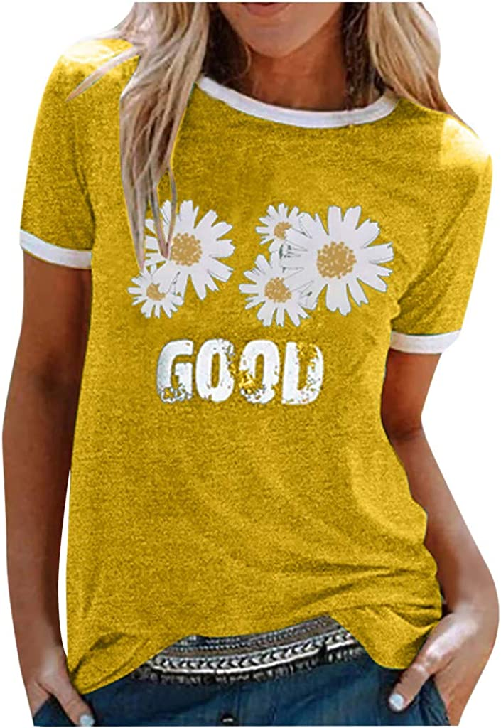 aihihe Womens Short Sleeve T-Shirt Tees Tops Summer Casual Loose Plus Size Letter Printed Top Blouse T Shirts
