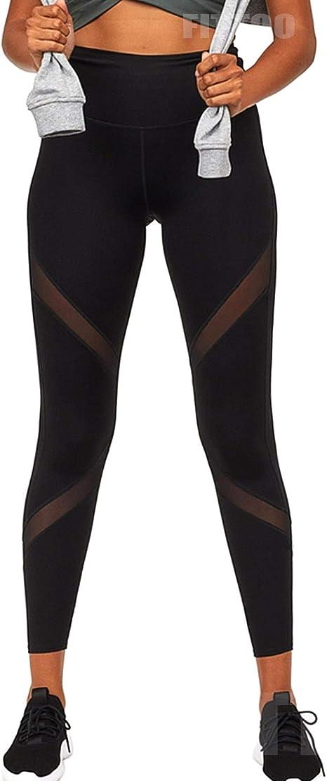 FITTOO Womens Mesh Yoga Pants Non See-Through High Waist Tummy Control 4 Way Stretch Leggings