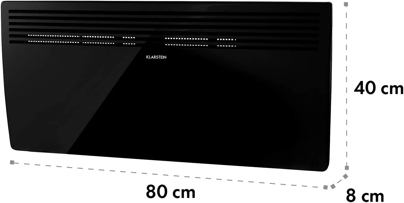 40 m/² Noir Chauffage IP24 5-40 /°C Slimcurve Klarstein Hot Spot 80x40 cm 2000 W