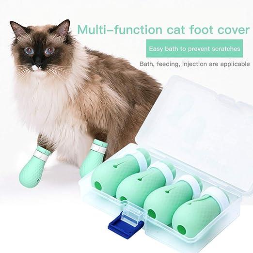 Queta Funda para pies de gato, Fundas de Silicona para Garras para bañarse, afeitarse, revisarse y Recibir Tratamiento en el Hospital de Mascotas ,Protección de patas de gatos: Amazon.es: Productos para mascotas