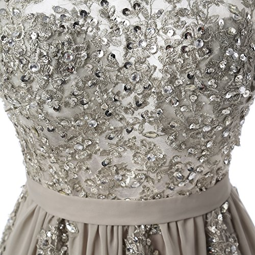 Ballkleider Perlen Mit Grau Partykleid Kleid Abendkleid Applikationen LaoZan Damen Rückenfrei Lang qxAOP