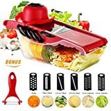 Mandoline Slicer Godmorn Newest 6+1 Vegetable Slicer Multi-function Food Slicer Fruit and Cheese Cutter Juilienne Slicer with 6 Interchangable Stainless Steel Blades ,Best for Carrot,Cucumber,Cheese,Onions,Tomato,Potato and Zucchini,Red