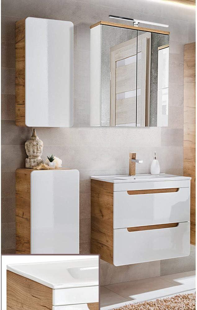 Lomadox Badezimmermöbel Set in Hochglanz weiß mit Wotaneiche, 60cm Keramik-Waschtisch mit Unterschrank, LED-Spiegelschrank, Unterschrank &... 1