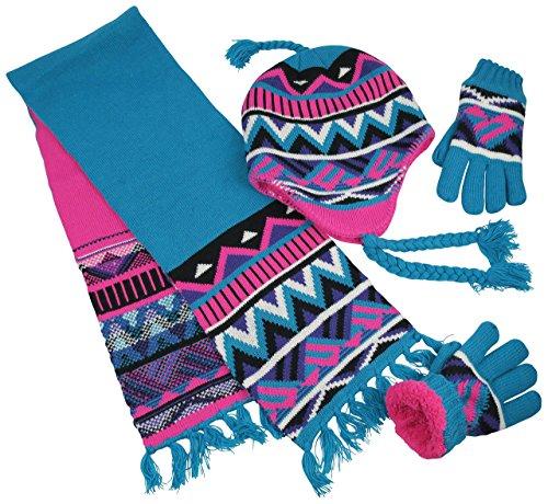 N'Ice Caps Big Girls Sherpa Lined Geo Print Hat/Scarf/Glove