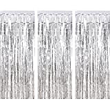 PUZINE Metallic Tinsel Curtains Foil Fringe Shimmer Hanging Tinsel for Door Window Curtains Birthday Party Wedding 3ft x 8ft (Gold)