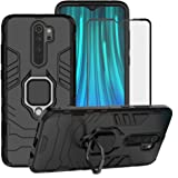 BestAlice for Xiaomi Redmi Note 8 Pro (Not for Redmi Note 8) Case, Hybrid Heavy Duty Protection Shockproof Defender Kickstand Armor Case Cover Tempered Glass Screen Protector,Black