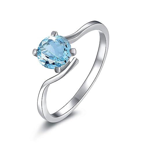 Blisfille Joyas Anillos Compromiso de Or Anillo de Round Anillos de Compromiso Mujer Diamantes Anillo de Plata de Ley 925,Plata del Tamaño 6,75-25: ...