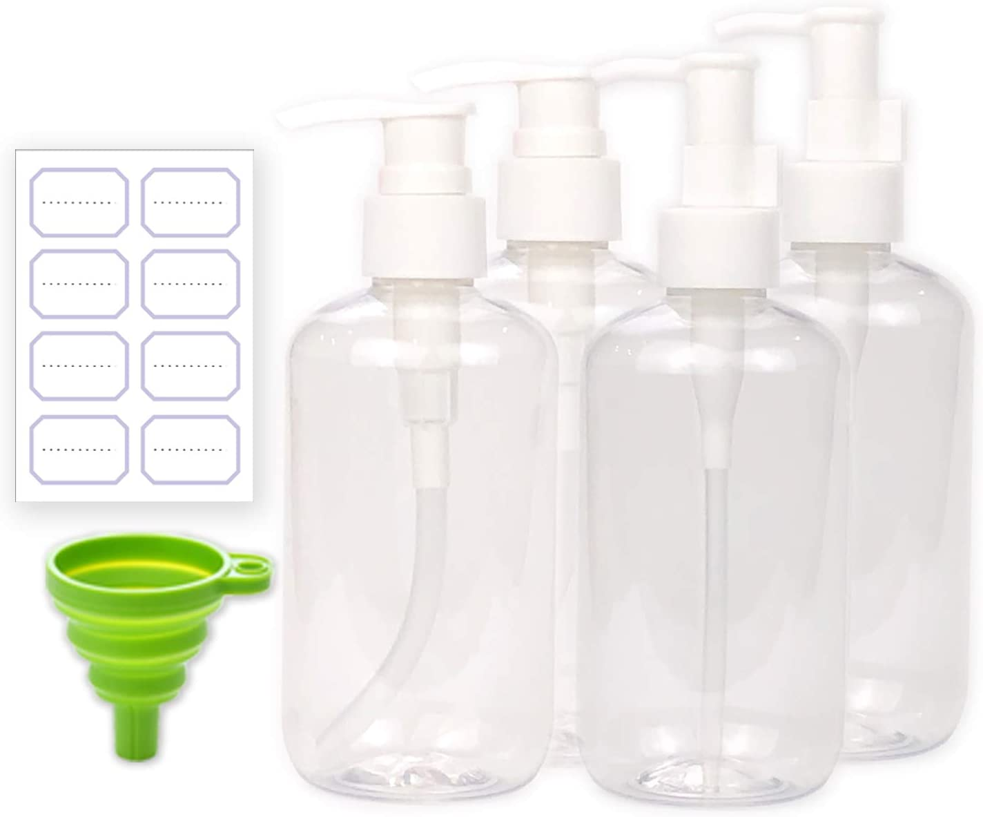 Tbrand 8 oz 4 Packs Plastic Empty Bottle for DIY Lotions Massage Oils Food Grade Plastic Containers Cylinder with 2 Kinds of Pump & Funnel Labels